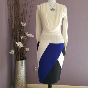 Colorblock Skirt & Shawl neck sweater NWT